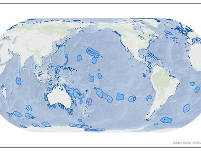 Mapa de áreas protegidas a diciembre de 2016 elaborado por el Instituto de Conservación Marina.