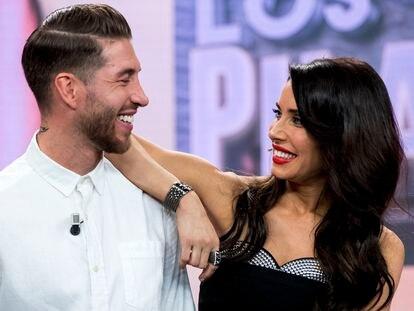 Pilar Rubio y Sergio Ramos en el programa de televisión 'El Hormiguero' en febrero de 2019.