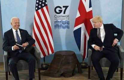 Joe Biden y el primer ministro británico Boris Johnson.
