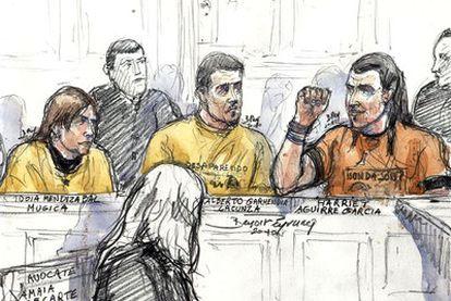 Uno de los dibujos hechos por Benoit Peyroucq en un juicio a etarras.