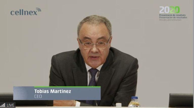 Tobías Martínez, consejero delegado de Cellnex Telecom en la presentación de resultados de 2020 este viernes.