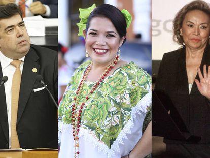 Pedro Haces Barba, Alejandrina Moreno y Elba Esther Gordillo, líderes de los tres partidos nuevos avalados por el Tribunal Electoral.