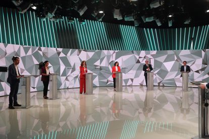 Los seis candidatos a la Presidencia de la Comunidad de Madrid durante el debate de este miércoles en Telemadrid.