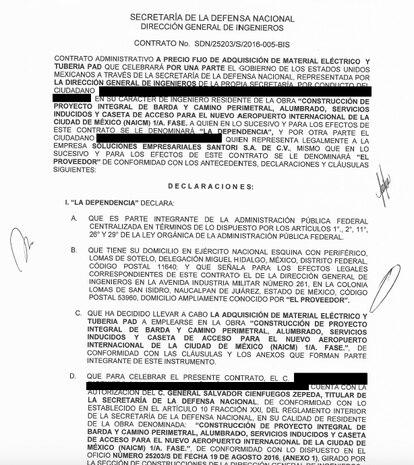 El contrato que firmó la Sedena con la empresa Soluciones Empresariales Santori durante la construcción del NAIM.