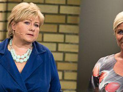 La conservadora Erna Solberg (izquierda) y la ultraderechista Siv Jensen.