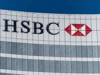 El logo de HSBC en su sede en la Ciudad de México.