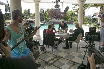 Un momento del rodaje de la serie 'Nasdrovia' el martes de la semana pasada.