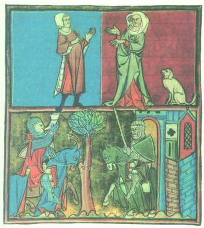La doncella del perro de caza, de la Historia de Merlín de Robert Boron, del siglo XIII.