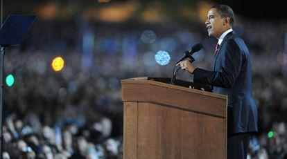 Barack Obama tras ganar las elecciones en 2008.