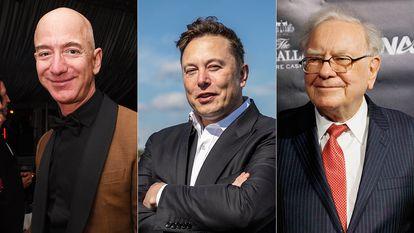 Jeff Bezos, Elon Musk y Warren Buffett.