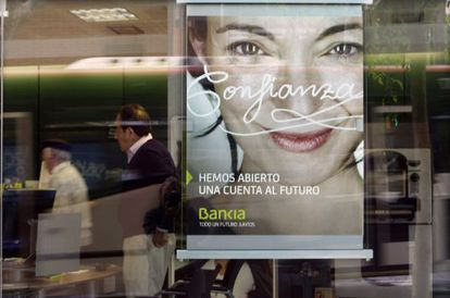 Anuncio de Bankia en una oficina de la entidad en Barcelona.