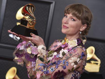 Taylor Swift, en los premios Grammy en Los Ángeles el domingo.
