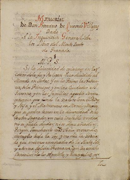 Primera página del memorial de Quevedo dirigido a la Inquisición. / ARCHIVO DE LA CATEDRAL DE SEVILLA
