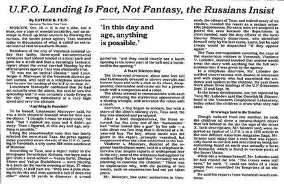 """Noticia del 11 de octubre de 1989, del archivo de 'The New York Times'. Puede consultarse <a href=""""https://www.nytimes.com/1989/10/11/world/ufo-landing-is-fact-not-fantasy-the-russians-insist.html"""">en su hemeroteca</a>."""