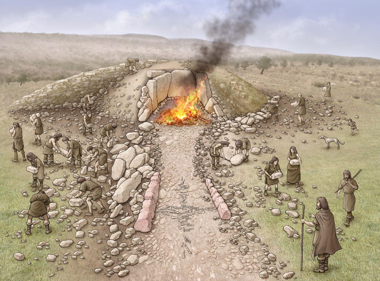 Reconstrucción del dolmen de El Pendón, en Reinoso (Burgos).