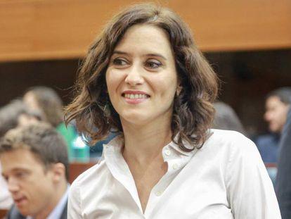 Isabel Díaz Ayuso, este miércoles en la Asamblea de Madrid. En vídeo, los momentos más destacados del segundo día de debate de la investidura.