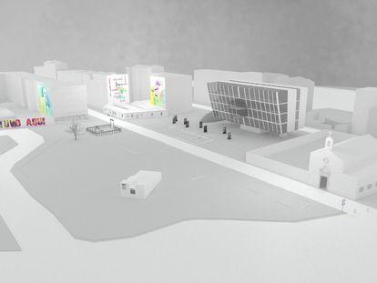 Imagen del proyecto con la plaza Robert Capa entre la parroquia de San Carlos Borromeo y el edificio de Peironcely,10
