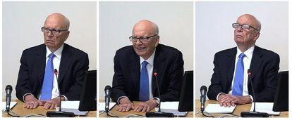 Tres capturas del vídeo de la comparecencia de Rupert Murdoch.