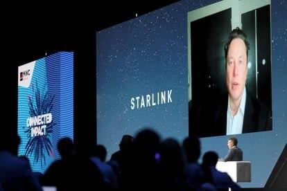 El fundador de Tesla y SpaceX, Elon Musk, en una videoconferencia en el Mobile World Congress.