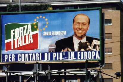 Poster of Forza italia, Berlusconi's party, for the elections to the European Parliament, in Rome, in 1994.