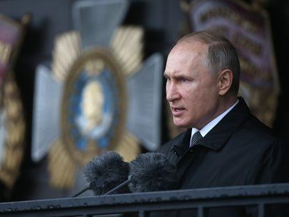 Putin, durante un discurso en un desfile militar en Pskov, el 1 de marzo.