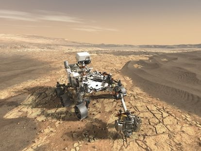 Representación del vehículo 'Perseverance' de la NASA explorando el cráter Jezero de Marte.