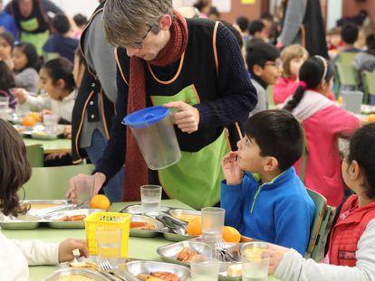 Un comedor escolar en un colegio de Barcelona.