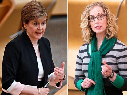 La primera ministra de Escocia, Nicola Sturgeon, y los co-dirigentes del Partido Verde escocés, Lorna Slater y Patrick Harvie.