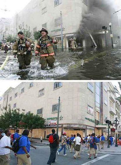 Arriba, los bomberos de Nueva Orleans trabajan durante las inundaciones del Katrina. Abajo, la misma calle justo dos años después.