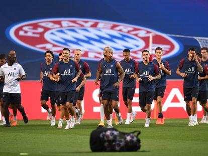 Entrenamiento de los jugadores del PSG en el Estadio da Luz de Lisboa el pasado 22 de agosto, día previo a la final de la Champions League.