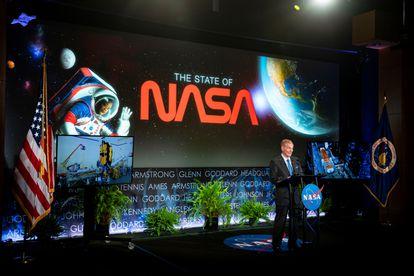 El máximo responsable de la NASA, Bill Nelson, anuncia las nuevas misiones espaciales Davinci y Veritas para estudiar Venus, en la sede de la NASA en Washington, Estados Unidos, el 2 de junio de 2021.