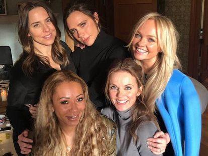 Las Spice Girl al completo: Mel C, Victoria Beckham, Emma Bunton, Geri Halliwell y Mel B.