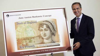 Mark Carney, gobernador del Banco de Inglaterra, en la presentación del billete con el retrato de la escritora Jane Austen.