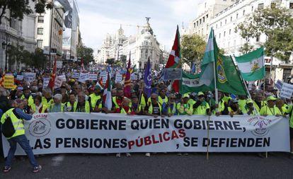 Manifestación de pensionistas en Madrid el 16 de octubre.