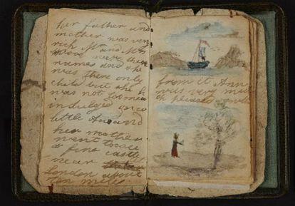 Manuscrito del relato corto ilustrado que Charlotte Brontë hizo en 1826 para su hermana pequeña Anne.