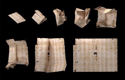 Secuencia de despliegue de una carta generada por computador que se utilizó para leer el contenido de los sobres sellados de la Europa del siglo XVII sin abrirlos físicamente.