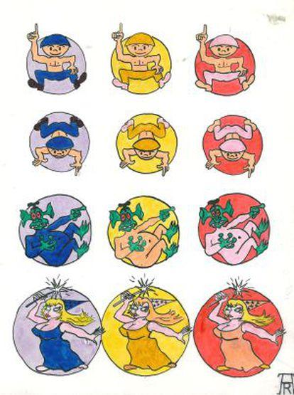 Los cuatro quarks up, down, extraño y encantado, en sus tres colores, caricaturizados por Álvaro de Rújula, en 1975.