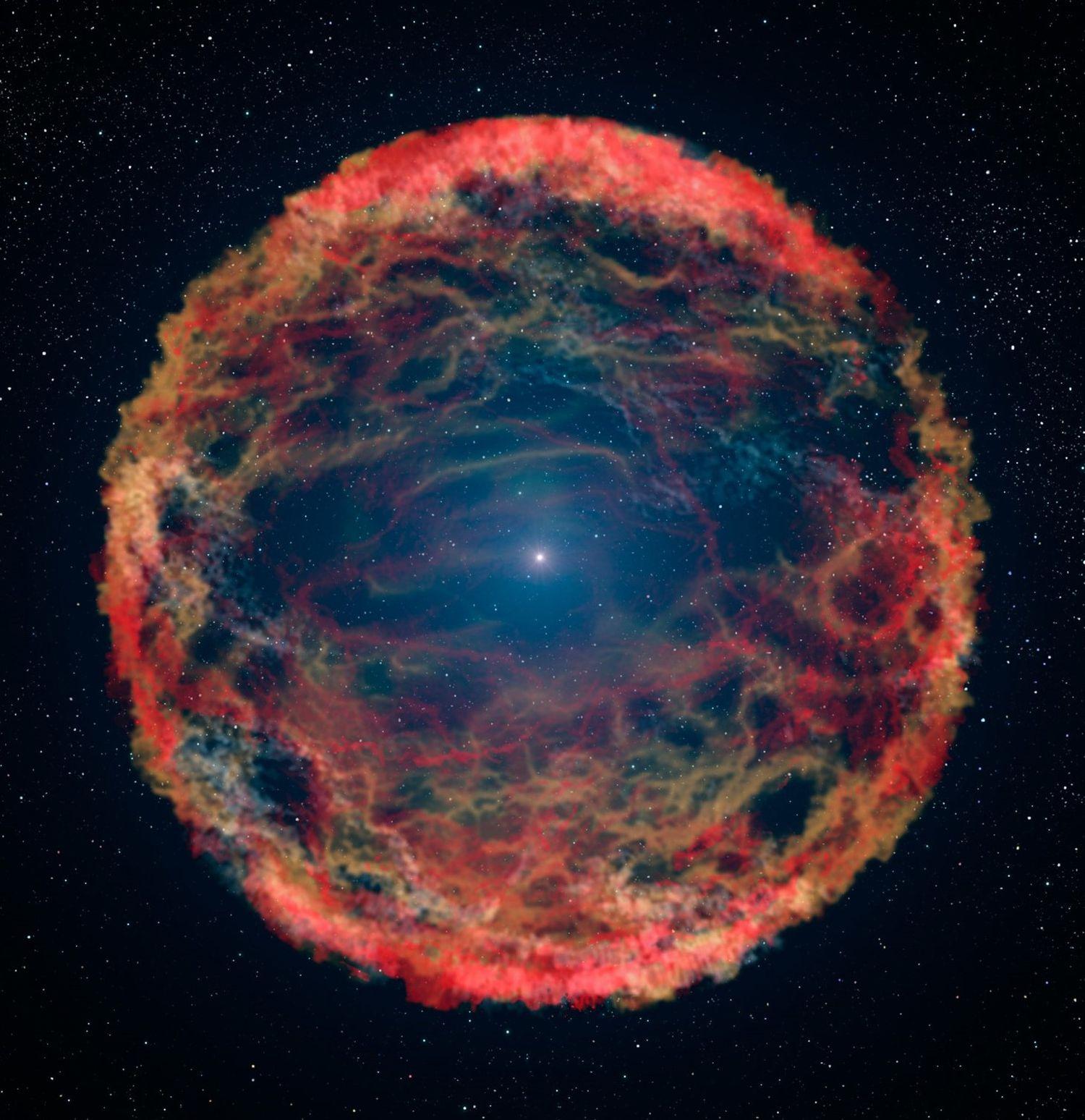 Visión artística de la supernova SN 1993J, en un sistema estelar binario de la galaxia M 81. La imagen muestra la estrella superviviente, en el centro, envuelta por los restos de su compañera destruida.