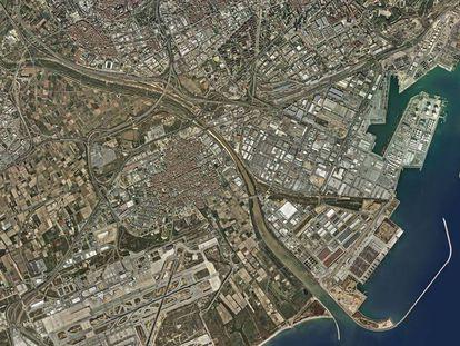 Mapa del puerto de Barcelona.