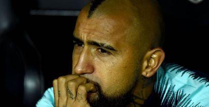 Vidal, en el banquillo de Mestalla.