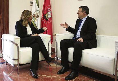El secretario general del PSPV- PSOE, Ximo Puig, se reúne en Sevilla con la Presidenta de Andalucía, Susana Díaz.