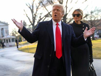 Donald y Melania Trump, el 20 de enero, día que dejaron la Casa Blanca.