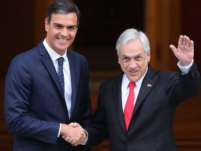 Pedro Sánchez junto al presidente de Chile.