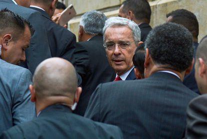 El expresidente Álvaro Uribe a su llegada a la Corte Suprema en una imagen de octubre de 2019.