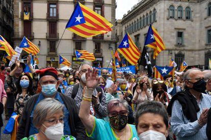 Manifestación de la ANC para exigir un Govern de la Generalitat independentista, el domingo en Barcelona.