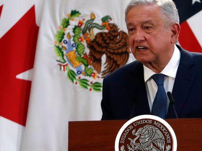 El presidente de México, Andrés Manuel López Obrador, habla durante un evento para firmar una actualización del Tratado de Libre Comercio de América del Norte en diciembre de 2019. AP / Marco Ugarte
