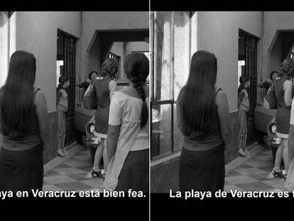 Una imagen de la película 'Roma' (2018), de Alfonso Cuarón, con sus versiones subtituladas en español mexicano (izquierda) y peninsular.
