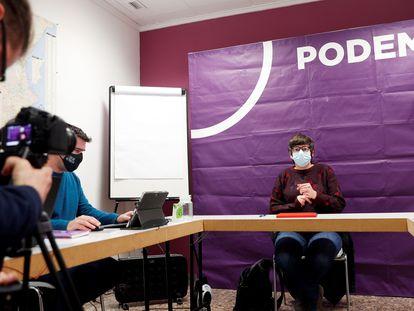 La coodinadora autonómica de Podem, Pilar Lima, durante el Consejo Ciudadano del pasado fin de semana donde se votó la sustitución como portavoz parlamentaria de Naiara Davó por ella misma.