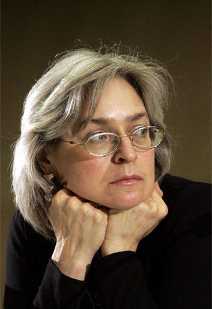 """La escritora y periodista rusa Anna Politkovskaya, durante su participación de el Diálogo """"El Valor de la Palabra"""", del Fórum de Barcelona."""