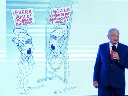 Andrés Manuel López Obrador, presidente de México, durante su conferencia de prensa este viernes.